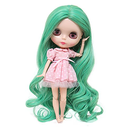 Wigs Only!Brand New Long Loose Wavy Apple Green Blended Colors Baby Doll Hair Wigs for Blythe Pullip from MUZI WIG