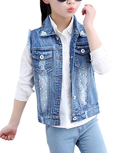 MYtodo Girls Vest Kids Cowboy Pearl Denim Waistcoat Tops Jacket (6-7 Years)