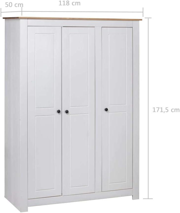 YiYueTrade Garde-Robe 3 Portes Blanc 118x50x171,5cm Pin Assortiment Panama