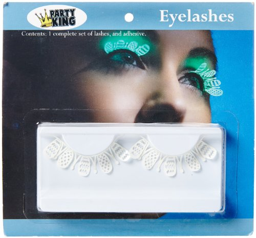 Party King Women's Glow In The Dark Whimsy Eyelashes, White, One Size -