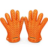 Heat Resistant Silicone Gloves for Cooking Offer Unrivaled Quality – Perfect for Inside and Outside Bbq Grilling. Protects From Unsafe and Painful Burns. Your Vital Protection for High Temperatures and More Competent Than Potholders. Stretchy, Versatile, and Plotted with a Superb Grip, Water-resistant, Dishwasher Safe, and Overtakes Oven Mitts & Any Other Related Product. (Orange) For Sale