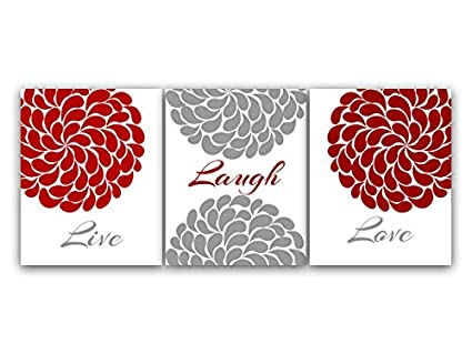 Amazon.com: Live Laugh Love, Red Black and Gray Wall Art, Flower ...