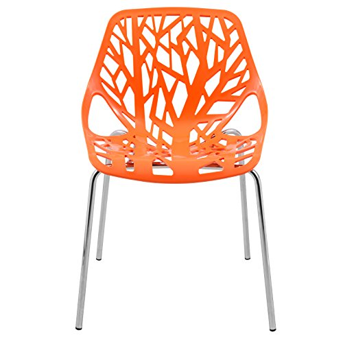 LeisureMod Modern Asbury Dining Chair with Chromed Legs, Orange