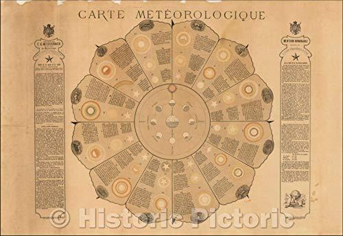 Historic Map   Carte Meteorologique. Dressee Par F. X. Meissonier Professeur de Meteorologie/Meteorological map. Compiled by F. X. Meissonier, 1877   Vintage Wall Art 44in x 31in