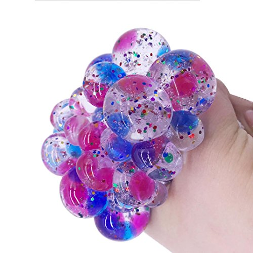 Grape Toy - Makeupstore Multicolor Mesh LED Stress Squishy Balls, Rubber Vent Toy Grape Ball Stress Relief Squeeze Toys Ideal for Relieve Tension, Anxiety, ADHD for Office Adults Boys Girl