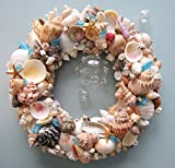 Beach Decor Seashell Wreath - Nautical Shell Wreath in Natural Colors w Sea Glass