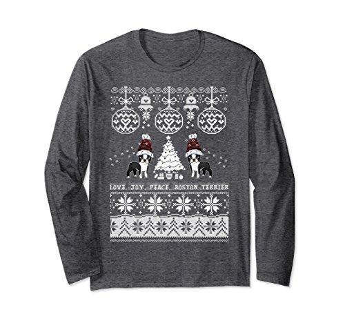 Unisex Cute Boston Terrier Christmas Sweater Shirt Boston Dog Lover Large Dark Heather -
