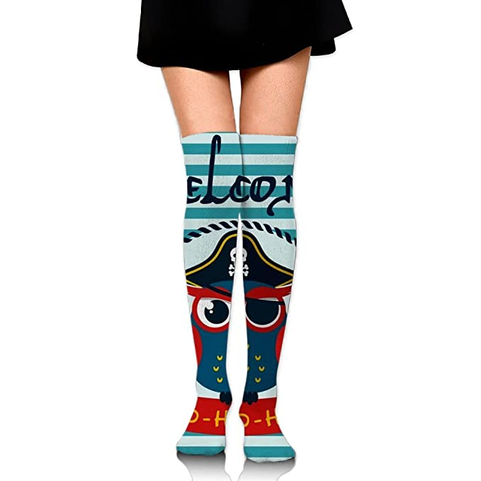 19df00f7c06 Image Unavailable. Image not available for. Color  Welcome Sailor Owl Over  The Knee Long Socks ...
