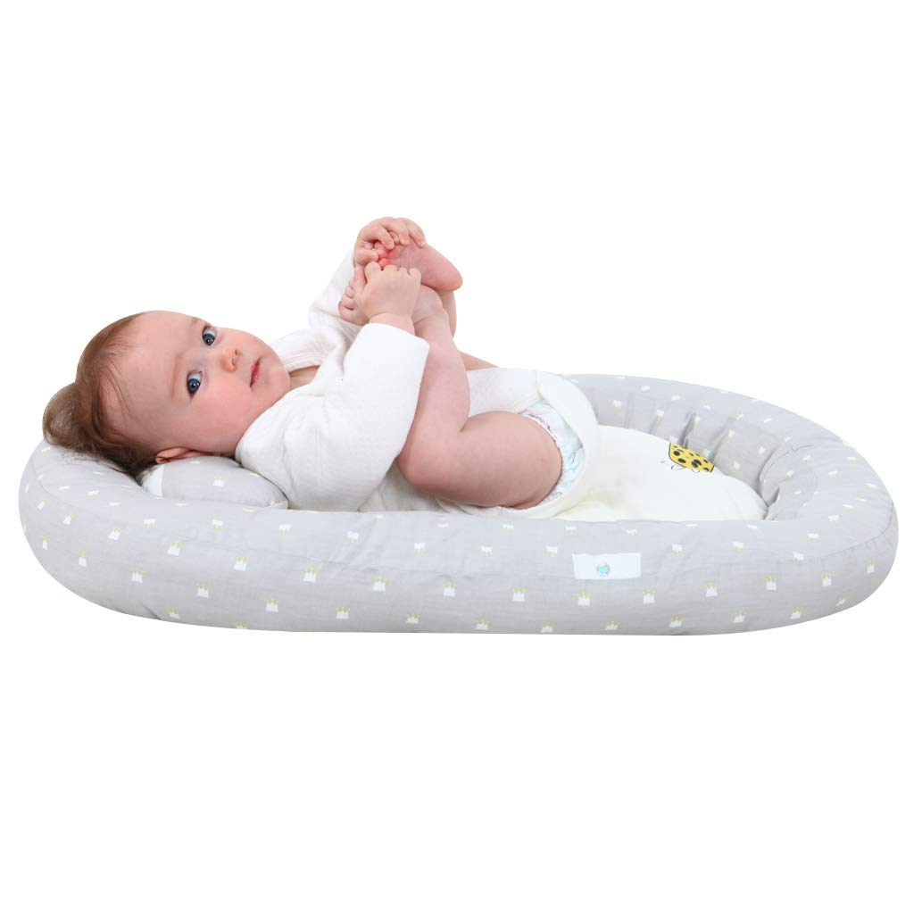 Beige KAKIBLIN Baby Bassinet for Bed,Baby Lounger Bed Bassinet for Newborn Baby Portable Crib Suitable for 0-8 Months
