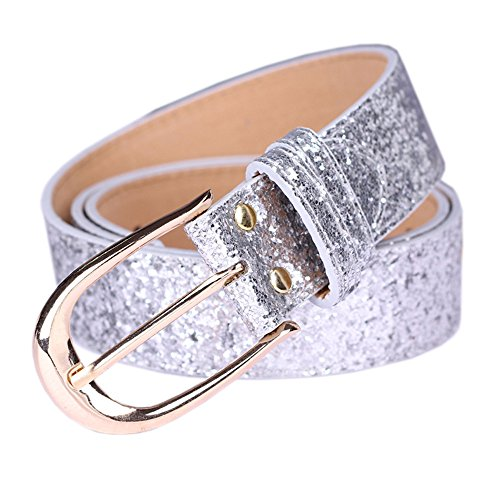 Sequin Studded Women Leather Belts for Jeans Waistband with Silver Buckle Corlink