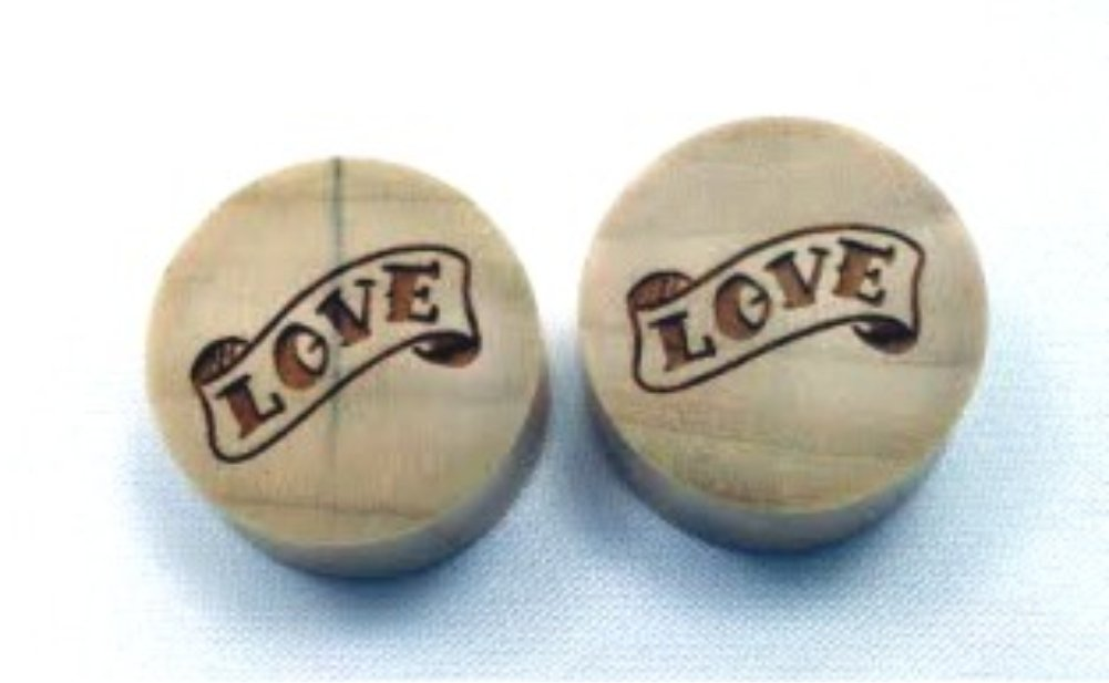 100% Handmade ''Love'' Organic Wood Plugs - You Choose Color/Type of Wood and Size from 7/16'' - 30mm