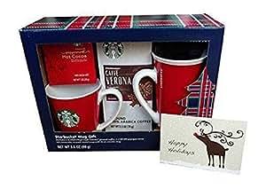 Starbucks 4 pc Christmas Gift Set:Ceramic Travel Mug+Coffee+Hot Cocoa+Mug