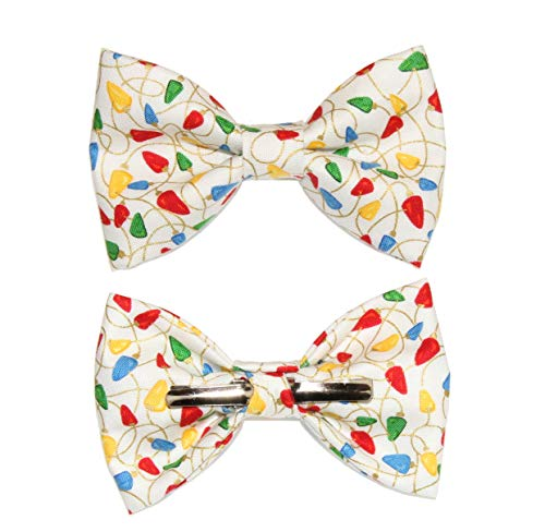Boys Colorful Holiday Lights Clip On Cotton Bow Tie Bowtie amy2004marie