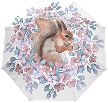 Akiraki 日傘 折りたたみ傘 ワンタッチ 自動開閉 軽量 UVカット レディース メンズ 栗鼠 花柄 動物柄 ホワイト 白 折り畳み傘 晴雨兼用 遮光 断熱 耐強風 雨傘 傘 撥水加工 紫外線対策 収納ポーチ付き