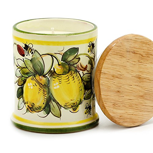 DERUTA CANDLE: Straigh Jar with Wood Lid MAJOLICA LIMONI Design, Alps Wild Berries (Berries Majolica)