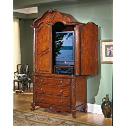 Homelegance Madaleine Solid Hardwood Flat Panel/Plasma/LCD TV Armoire in Antique Cherry Finish