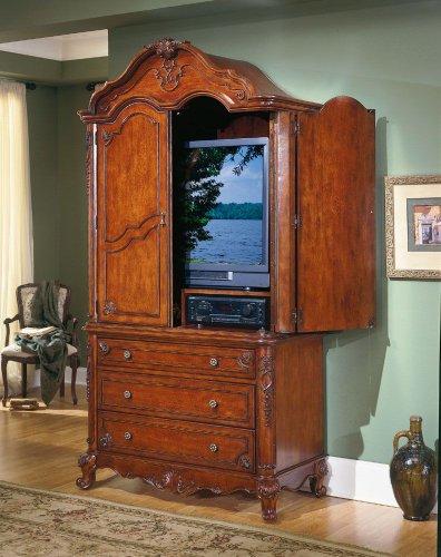 Homelegance Madaleine Solid Hardwood Flat Panel/Plasma/LCD TV Armoire in Antique Cherry Finish