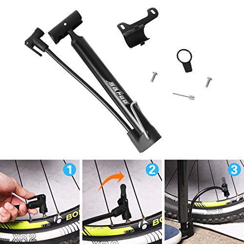 Chanurae Bike Pump Bicycle Pump,120 PSI Floor Standing Bike Pump,Super Fast Tyre Inflation Compatible with Universal Presta and Schrader Valve Frame Mounted Air Pump for Road,Mountain and BMX Bikes