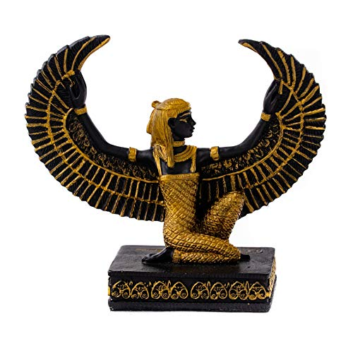 Top Collection Mini Kneeling Isis Statue - Egyptian Goddess of Life and Magic Sculpture- Hand Painted with Gold Accents-2.75-Inch Figurine ()