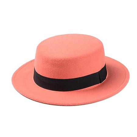 Sombrero de Playa para Mujer, Sombrero Plano, Sombrero de Fieltro Ancho para Sujetar Fedora, Gorro de Dama o de Pastel de GAO Shanshan Store, Verde, ...