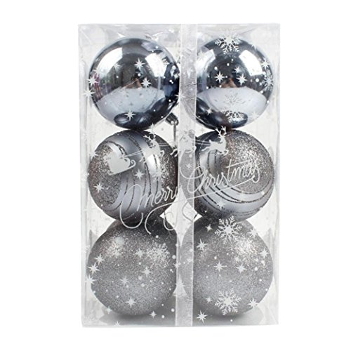 Sumen 12pcs Balls Christmas Tree Ornament Xmas Decorations Party Wedding Baubles Colorful (Gray) - Apparel Ornament