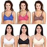 Yes Beauty Women's Cotton Non-Padded Bra - Pack of 6