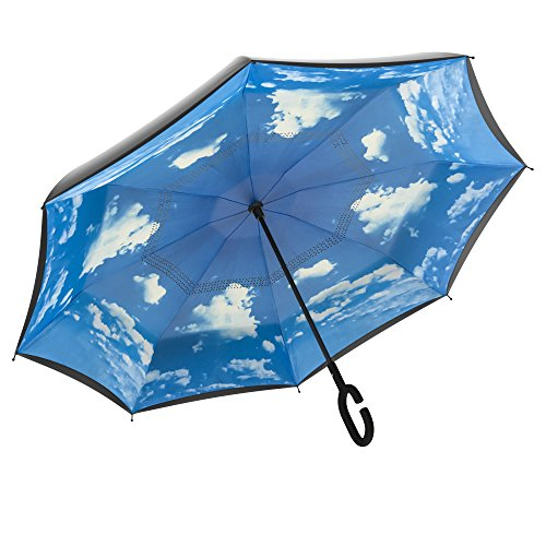 Gideon Original Windproof Vented Double Layer Reverse Umbrella, 39 Inch Diameter – Ergonomic Slip Proof C Handle – Self Standing – Withstands Winds Up To 55 MPH Workmanship (Blue Sky)