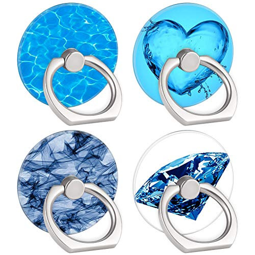 4-Pack Phone Ring Holder Clear Diamond Love Heart Blue Sea 360 Degree Rotation Finger Ring Stand Holder Grip Kickstand Compatible with Smartphones and Tablets