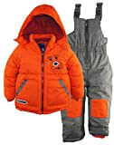 Rugged Bear Little Boys' Robot Winter 2 Piece Snowsuit Ski Bib Pant Set, Orange, 2T