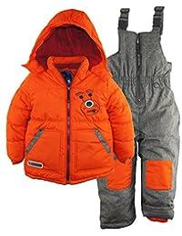 Rugged Bear Little Boys' Robot Winter 2 Piece Snowsuit Ski Bib Pant Set, Orange, 3T