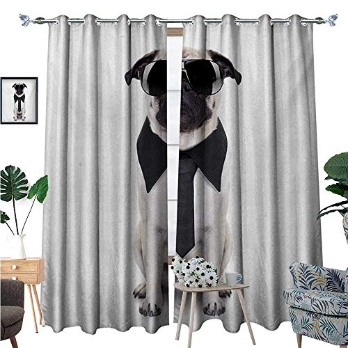 Pug Room Darkening Wide Curtains Cool Looking Dog Tie and Big Fancy Black Sunglasses Funny Canine Animal Comedy Image Customized Curtains W72 x L96 Black Cream ()