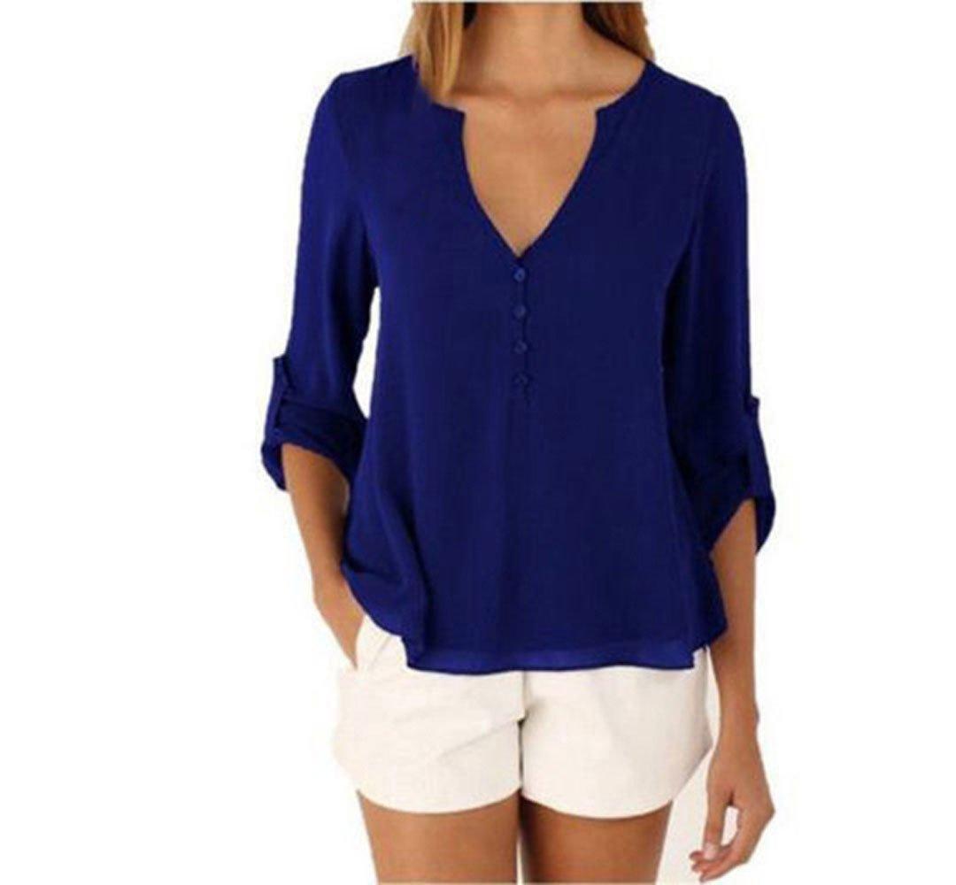 Pevor Women Casual Deep V-Neck Cuffed Sleeves Solid Chiffon Blouse Shirt Top, XL,Blue