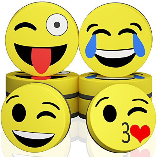 (Hibery 8 Pcs Magnetic Smiley Face Circular Dry Whiteboard Eraser - Magnetic Whiteboard Eraser for Home, Office and School Classroom - Yellow)
