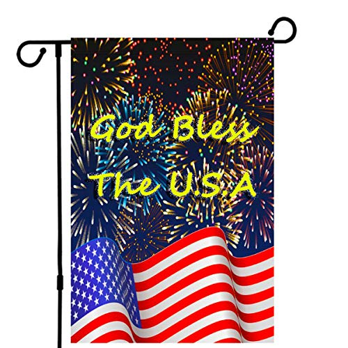 De Lon American Garden Flag, American Flag Independence Day Garden Flag, 12.5X18 Inch, Double Linen Fabric, Colorful Fireworks USA Flag Decorate Your Garden -