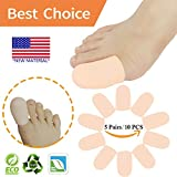 Gel Toe Caps, Big Toe Protectors, Toe Sleeves Tubes *NEW MATERIAL* for Blisters, Corns, Hammer Toes, Toenails Loss, Friction Pain Relief and More(10 PCS Nude For Big Toe)