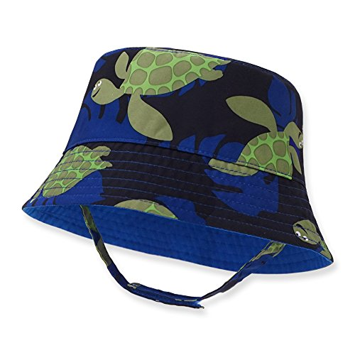 Keepersheep Infant Baby Toddler Boys' Girls' Sun Bucket Hat, Newborn Fisherman Bucket Hat (6-12 Months, Blue-Turtle Print)
