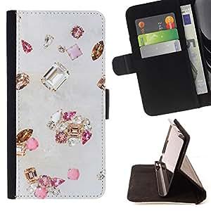- gem diamond stone bling gold pink - - Prima caja de la PU billetera de cuero con ranuras para tarjetas, efectivo desmontable correa para l Funny HouseFOR LG OPTIMUS L90
