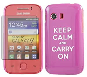 iTALKonline IMPERIAL LILA Caso con color blanco texto Keep Calm and Carry On Patrón Super Slim Hydro difícil Protección Armour Skin Funda Shell con LCD de pantalla de protección para Samsung S5360 Galaxy Y
