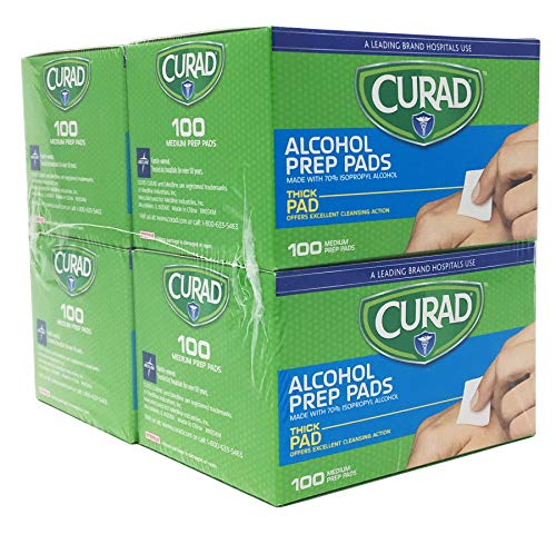 Curad Alcohol Prep Pads , Thick Alcohol Swabs (Pack of 400) - CUR45585RB ()