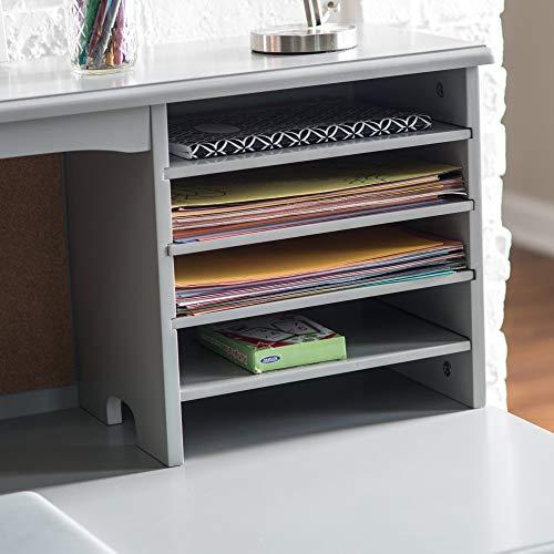 Guidecraft Children's Media Desk and Chair Set Gray: Student Study Computer Workstation, Wooden Kids Bedroom Furniture