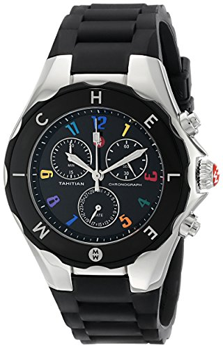 MICHELE Women's MWW12F000014 Tahitian Jelly Bean Analog Display Analog Quartz Black Watch