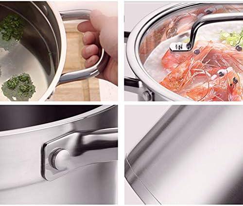 faitout inoxPot à vapeur en acier inoxydable fond composite épaissi pot de cuisson alimentaire ustensiles de cuisine cuisinière à induction marmite universelle 20/22 / 24 cm-24cm