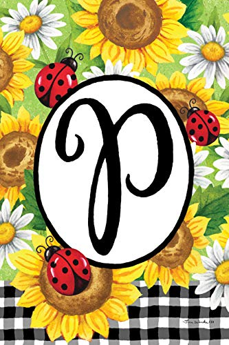 Custom Decor Sunflower Ladybugs - Letter P - Embroidered Monogram - Decorative Double Sided Flag - Garden Size, 12 Inch X 18 Inch, Licensed, Copyright & Trademark CDI. USA