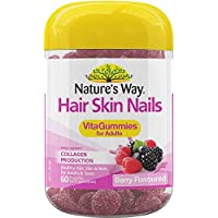 Nature's Way Hair Skin Nails Vita Gummies for Adults, Berry, 0.17 Kilograms