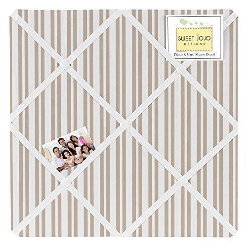 Sweet Jojo Designs Taupe Stripe Fabric Memory/Memo Photo Bulletin Board for Giraffe Collection