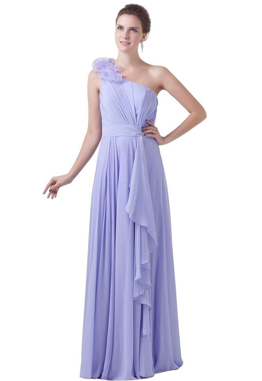 Graceful One-shoulder Sleeveless Floor Length Chiffon Evening Dress ZW08