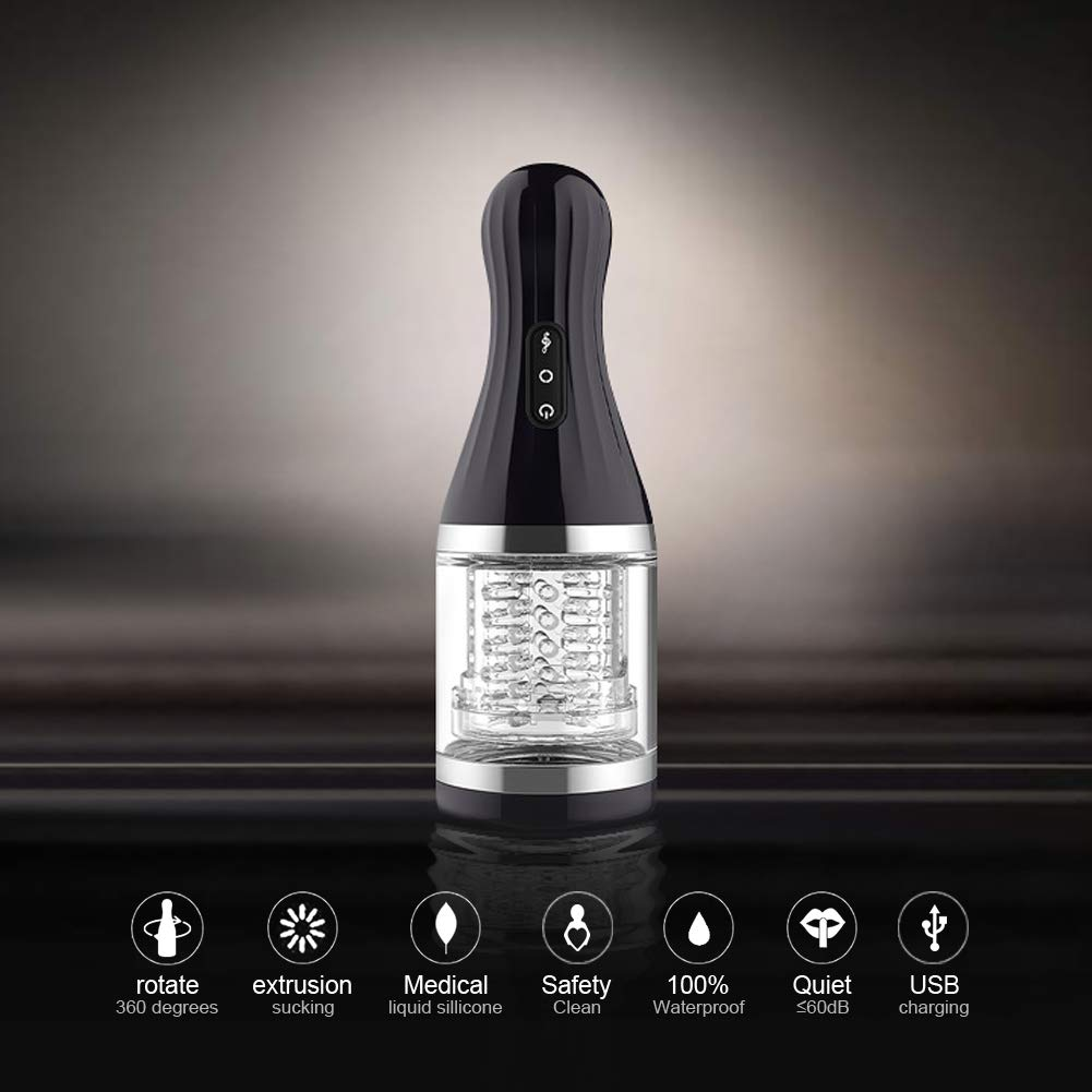 Aorgasms Massagegerät Cup mit 7 Vibrationmodi und 360 ° Drehung Massage für Männer,USB-Aufladung,TPR + ABS