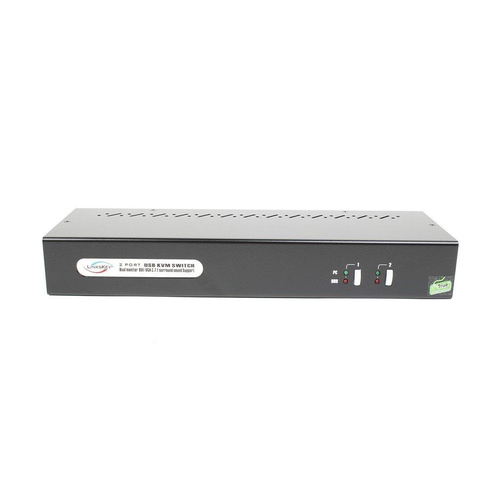 Linkskey 2-Port Dual Monitor DVI/VGA USB KVM + 7.1 Surround/Microphone/USB with Cables (LDV-DM712AUSK)