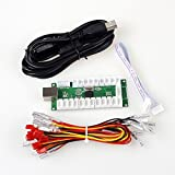 EG STARTS Zero Delay USB Encoder to PC LED Joystick Set Compatible LED Arcade Joystick DIY Kit Controller Part Mame Games (5Pin Cable + 10x 3Pin 2.8mm Wire)