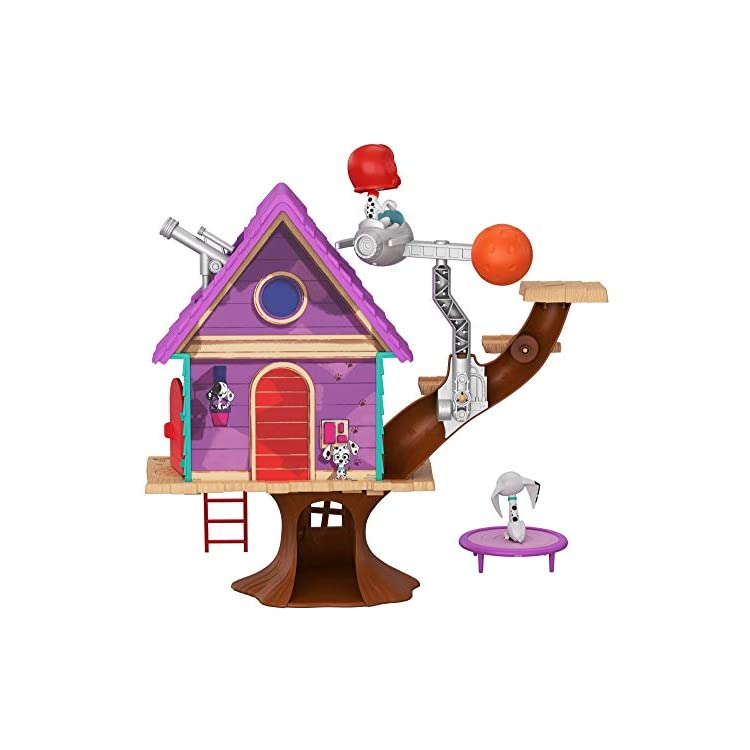 Disney 101 Dalmatian Street, Dylan Tree House Playset (16.6-In x 14-In) with 2 Dog Figures (3-In) and 10 Accessories